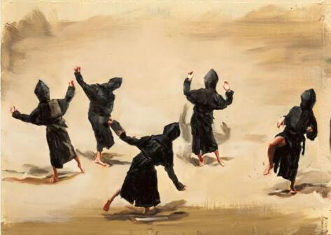 米凯尔·博伊曼斯《黑土/舞蹈》,布上油画,28 × 38.8cm,2015