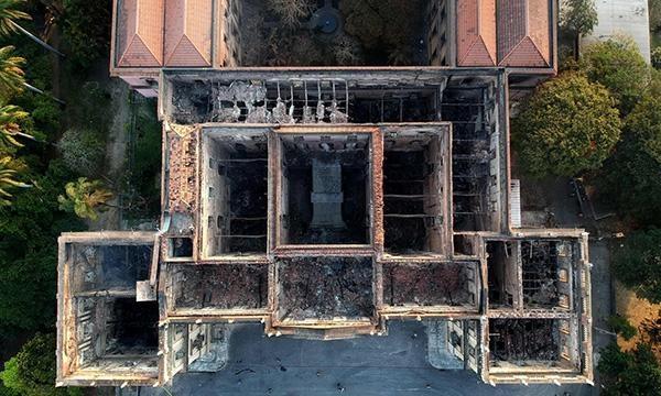 大火后的巴西国家博物馆俯拍图