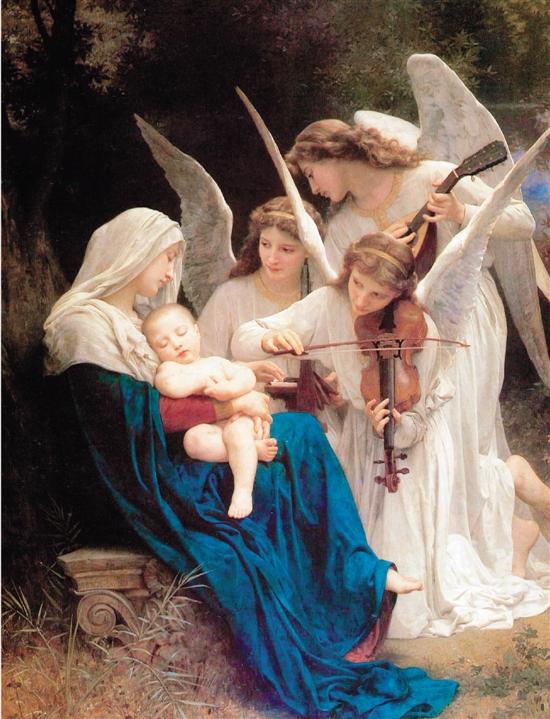 威廉·阿道夫·布格罗 天使之歌 213.4×152.4cm 布面油画 1881年 现藏于美国森林草坪纪念公园博物馆