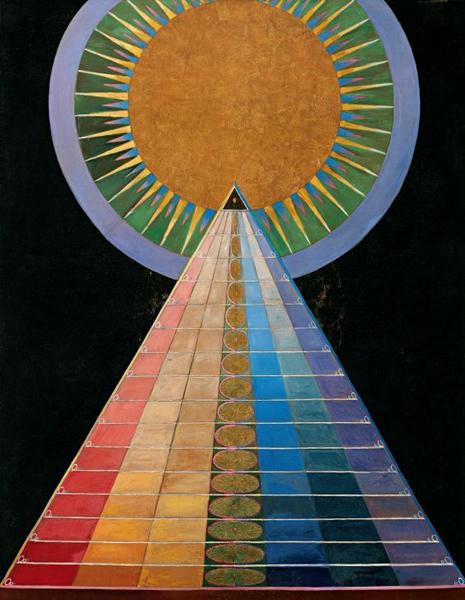 希尔马·阿夫·克林特,《祭坛画1》(Group X, No. 1, Altarpiece),1915年,布面油画、金属薄膜, 237.5 x 179.5 cm