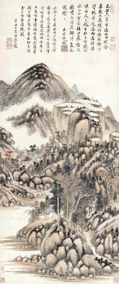 """前不久亮相""""故宫博物院藏清初'四王'绘画特展""""的王时敏《秋山白云图》轴。"""