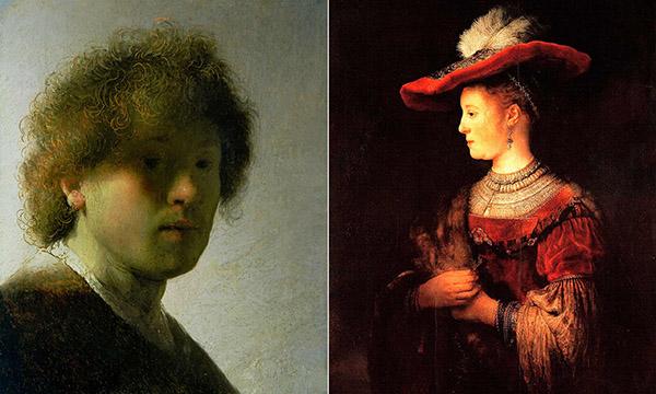 左,伦勃朗年轻时的自画像,也被称为《头发散乱的自画像》(Self-Portrait with Dishevelled Hair);右,戴红色帽子的萨斯基亚半身画像(Half-length Figure of Saskia in a Red Hat)。图片来源:The Bridgeman Art Library/Alamy