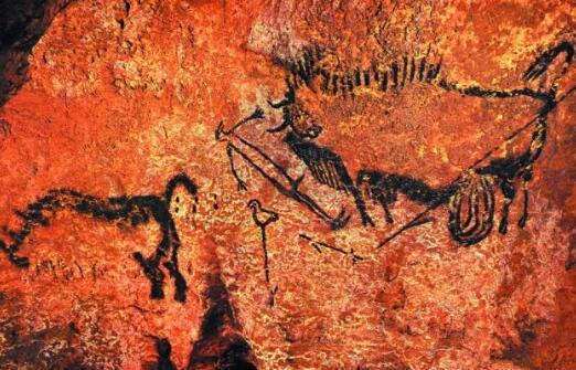 法国拉斯科洞穴中的人、鸟和野牛,被认为和星空具有某种联系 图片:pinterest