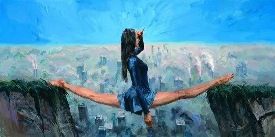 《尘世》,150 x 300 cm,布面丙烯,2016