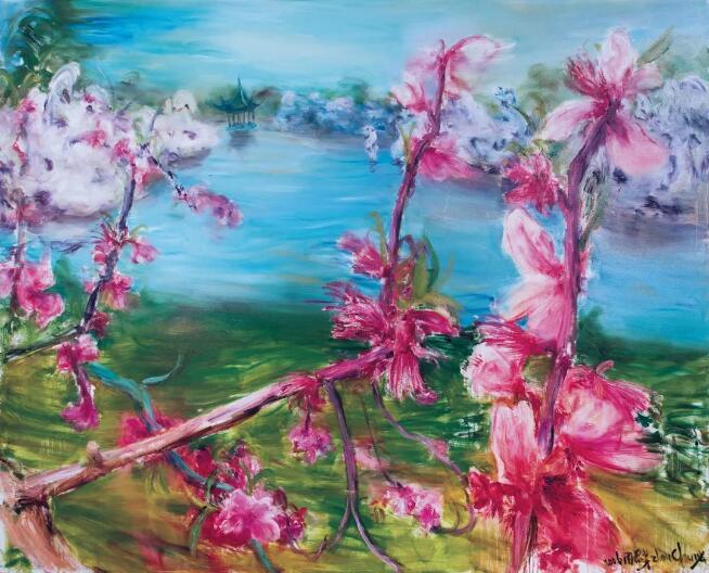 周春芽《桃花风景系列2006—苏州桃花》