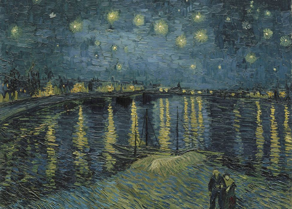 本次画展上展出的《罗纳河上的星月夜》( Starry Night Over the Rhone)