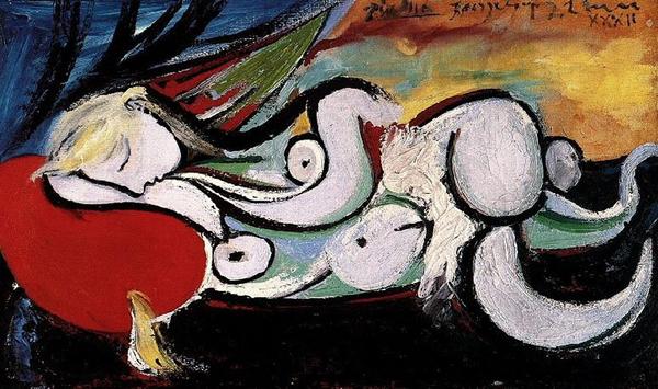 毕加索 Picasso - Lying naked on a red cushion (Marie-Therese Walter)