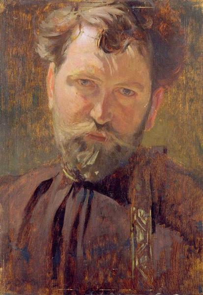 慕夏《自画像》1899年 木板油画