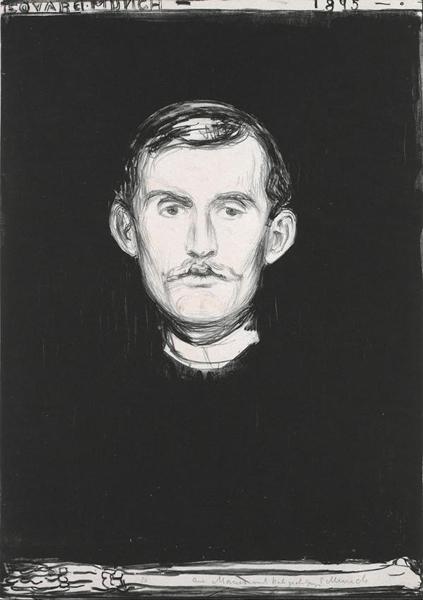 《有骷髅手臂的自画像》,1895年 图片:Wikipedia