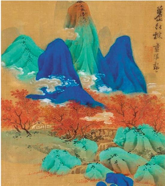 蓝瑛 山水双册(24开选登一开《碧山红树》) 1642年作 中国嘉德香港2019春拍 成交价:2980万港元