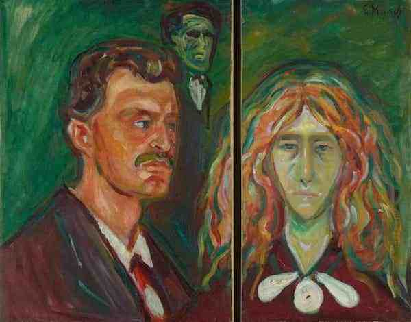 蒙克所作被一分为二的自画像