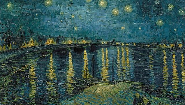 梵高名作《罗讷河上的星夜》。它参考了法国著名画家古斯塔夫·多雷的作品《泰晤士河之夜》 图片来源:Hervé Lewandowski/RMN-Grand Palais