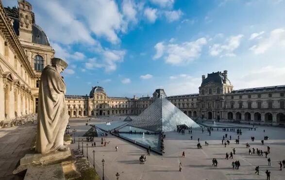 今天的卢浮宫,玻璃金字塔入口由贝聿铭设计