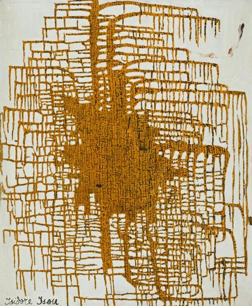 """Isidore Isou, """"Réseau centré M67"""" (1961), oil on canvas (73 x 60 cm) (© Adagp, Paris, image courtesy of Centre Pompidou)"""