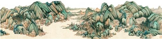 清 王鉴 青绿山水图卷(局部) 北京故宫博物院藏
