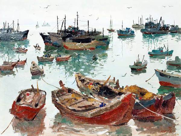 吴冠中 《渔港》 木板油画  46×61cm 1976年作 北京保利 2019年春拍  成交价:2242.5万元