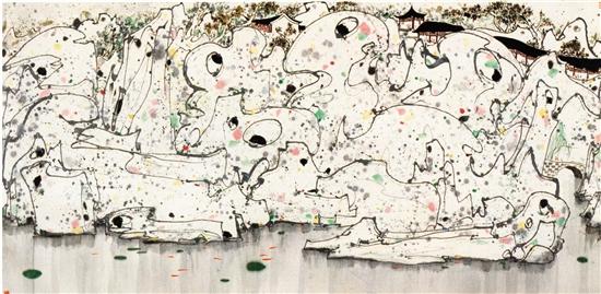 吴冠中 狮子林 144×297cm 设色纸本 中国嘉德2019春拍 成交价:1.4375亿元