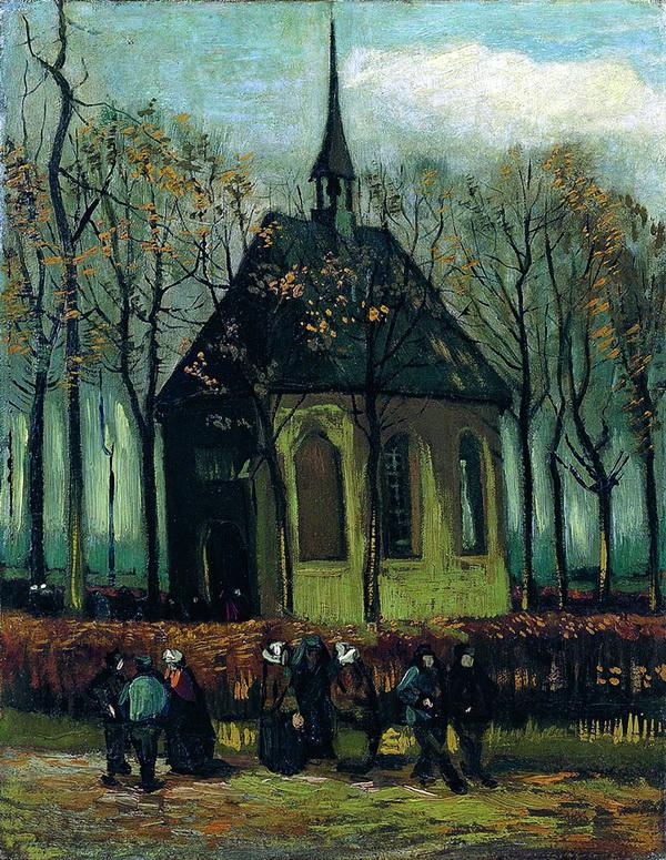 梵高《离开纽恩南的教堂》,1884-1885年