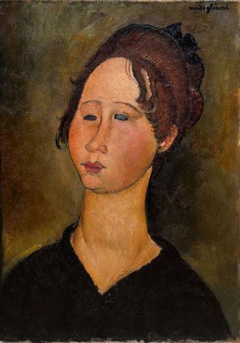 莫迪里阿尼创作于1919年的肖像画作La Bourguignonne  。资料图
