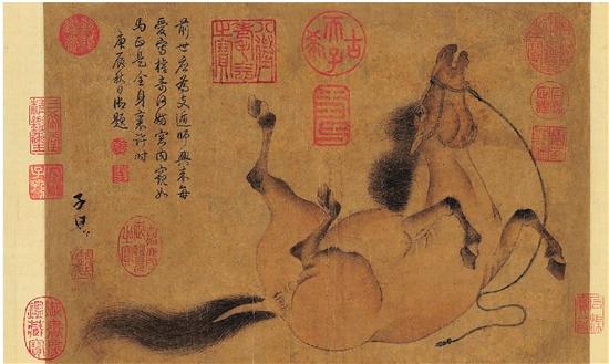 元 赵孟頫 滚尘马图 设色纸本 手卷 引首:54.5×22.5cm 画心:38×25.5cm
