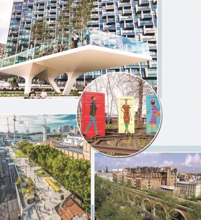 """伦敦""""潮汐公园""""。悉尼""""货物线""""公园。纽约""""高线公园""""上放置的艺术作品。巴黎""""绿荫步道""""。"""