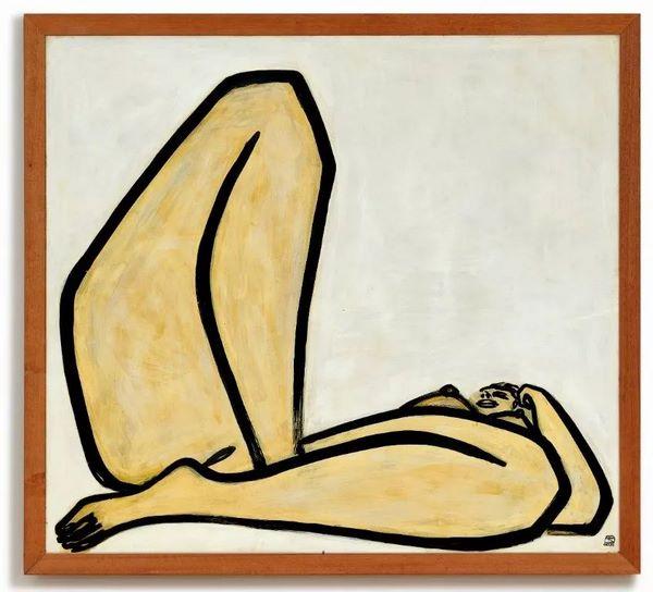 常玉《曲腿裸女》,油彩纤维板,1965年作,122.5 x 135 公分
