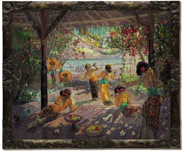 勒迈耶(1880-1958)《凉棚下的女子》油画画布,90 x 110.5 公分.估价:5,500,000 – 7,500,000 港元