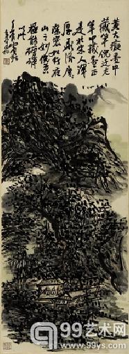 黄宾虹 夜山图 86.5×31.1cm 1952年
