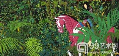 《目露凶光》190cm×200cm×2亚麻布、丙烯2010-2011年
