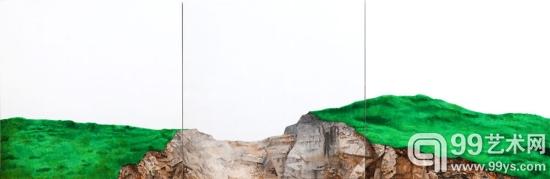 刘忠华,《无名山》,100×300㎝,布面油画,2012