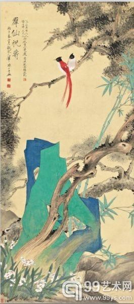 于非闇《群仙祝寿》 立轴 176.5×78cm 1936年