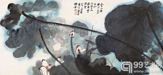 张大千--《碧云红妆》--镜心--65×140cm.---1980年作
