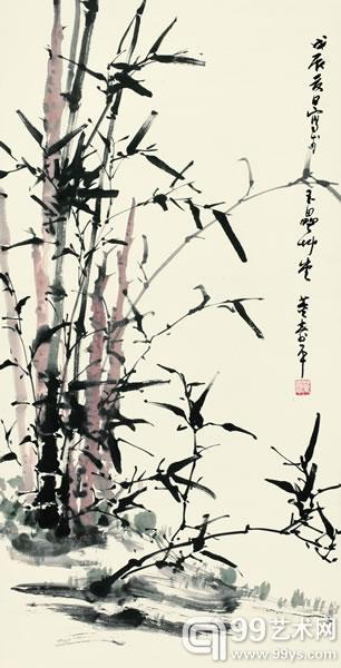 董寿平《风中劲节》133×68cm