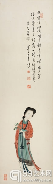 溥儒 红袖凭栏 镜片 设色纸本 95×28cm