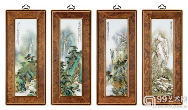 """李小聪  粉彩""""春、夏、秋、冬""""瓷板一组  74×21cm.*4"""