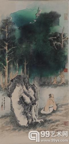 张大千 泼彩林霭高士图