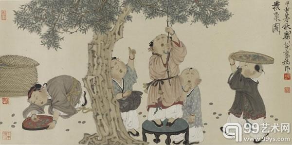 徐乐乐  (b.1955)2004年作 题目:童子扑枣图 尺寸:35×70cm