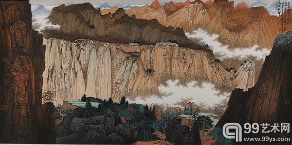 薛亮   b.1956   2009年作 题目:太行秋醉 尺寸:68×137cm