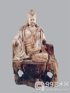 明洪武十八年 木雕水月观音菩萨像 高77.5厘米 美国大都会博物馆藏