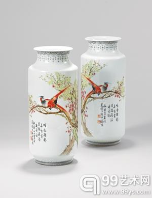Lot540 田鹤仙 粉彩梅花雀鸟纹瓶(一对)