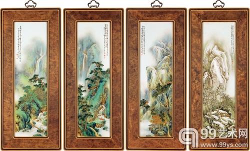 Lot557 李小聪 粉彩「春、夏、秋、冬」瓷板一组 局部