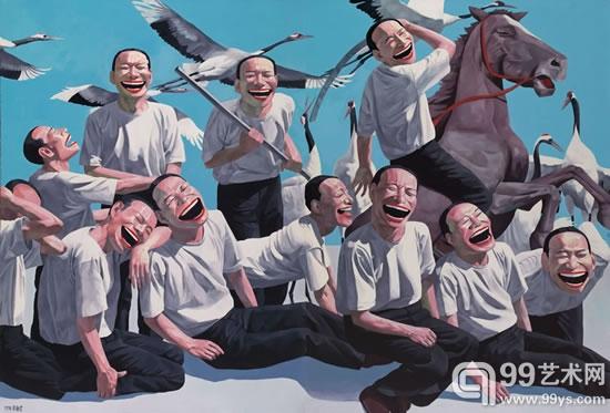 岳敏君 希阿岛的屠杀 布面油画 250x364cm 1994年
