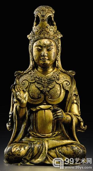 五代辽代 铜鎏金观音坐像 250.5万美元 2008年纽约佳士得春拍