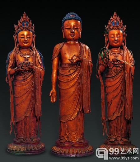 明 铜鎏金西方三圣佛 918.4万元 2008年北京翰海秋拍
