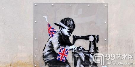 """班克斯(Banksy)将要在美国进行拍卖的""""壁画"""""""