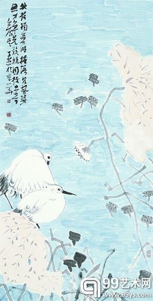 秋荷独爱时 (国画) 陈子游