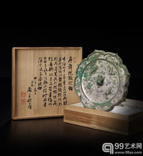唐 瑞舞凤狻猊八菱镜