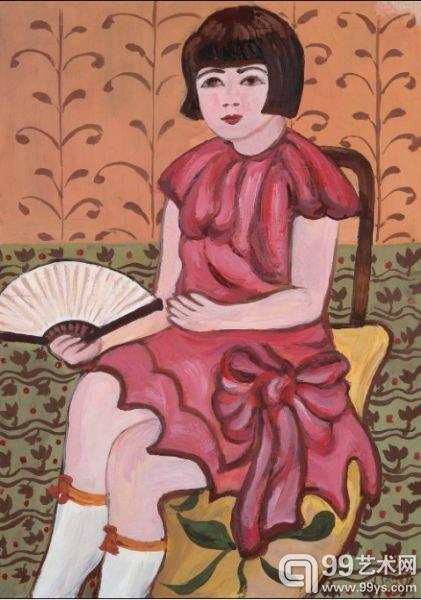关紫兰 执扇少女 纸本水粉 37.5×27.5cm