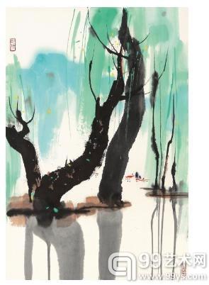 吴冠中 花溪 设色纸本 镜框