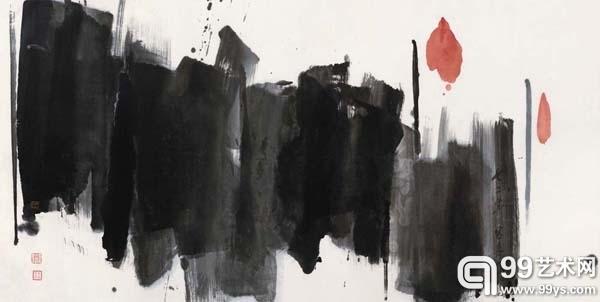 吕寿琨 (1919-1975) 《禅画-荷花》1972年作,8 x 134 cm.约8.2平尺,水墨设色纸本,成交价:HKD747,500。
